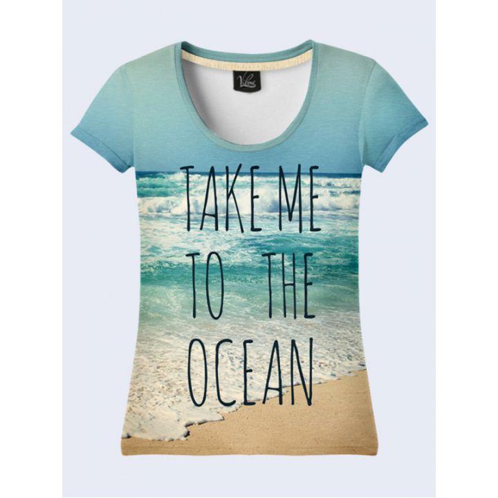 3D Жіноча футболка «Океан» блакитний