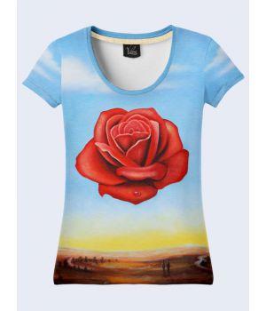 """3D Женская футболка """"Нежный цветок"""" синий"""