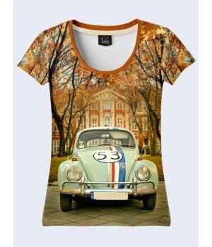 "3D Женская футболка ""Ретро-автомобиль"" беж"