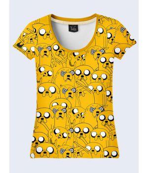 """3D Женская футболка """"Мультяшные Зверушки"""" желтый"""