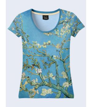 """3D Жіноча футболка """"Цвітіння мигдалю"""" синій"""