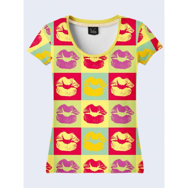 """3D Жіноча футболка """"Поцілунки"""" веселка"""