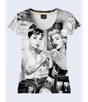 """3D Женская футболка """"Секс-бомбы"""" серый"""