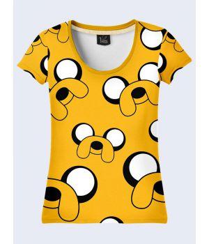 "3D Женская футболка ""Мордочки"" желтый"