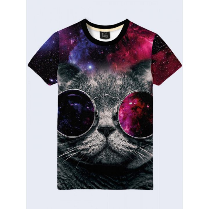 Космічна футболка з принтом Кіт у космічних окулярах
