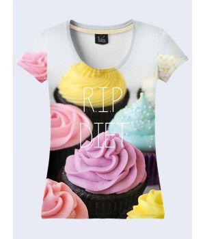 "3D Женская футболка ""Пироженки"" серый"