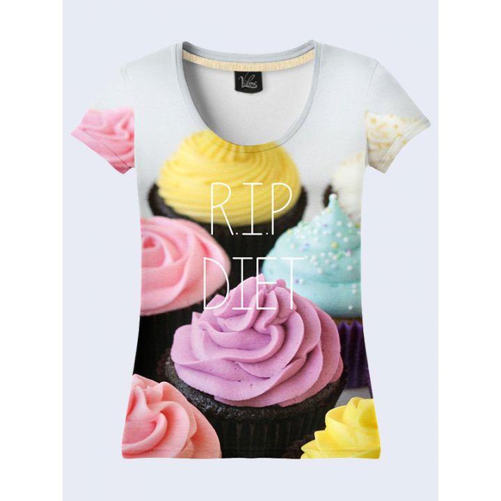 """3D Жіноча футболка """"Тістечка"""" сірий"""