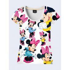 """3D Женская футболка """"Минни Маус"""" белый"""