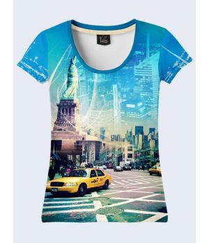 """3D Женская футболка """"Нью-Йорк"""" синий"""