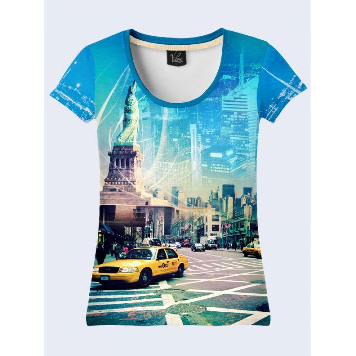 Футболка женская 3д Нью-Йорк в синем цвете