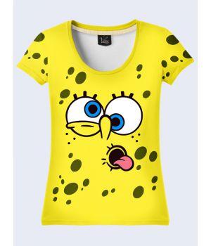 "3D Женская футболка ""Спанч Боб"" желтый"