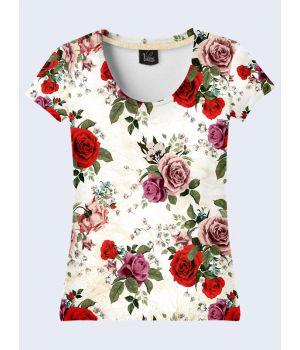 """3D Женская футболка """"Розы"""" молоко"""