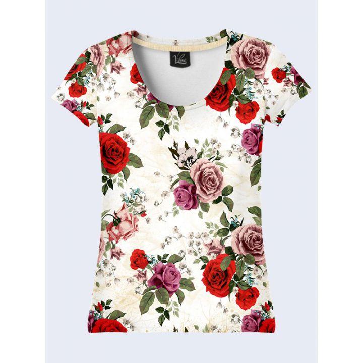 """3D Жіноча футболка """"Троянди"""" молоко"""