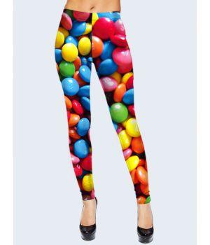 """3D Леггинсы разноцветные женские """"Конфетки M&M's"""""""