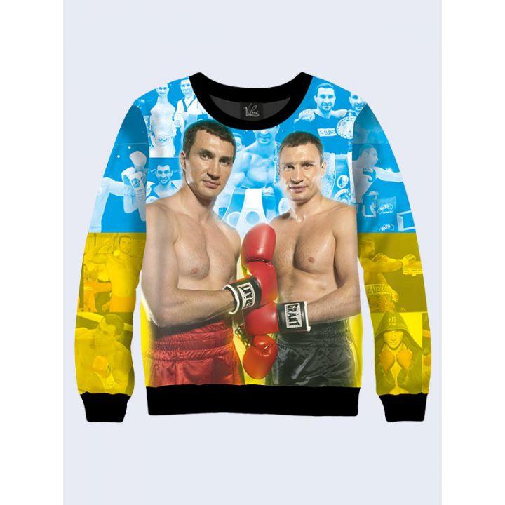 """3D Свитшот для мужчин """"Боксеры Кличко"""" сине-желтый"""