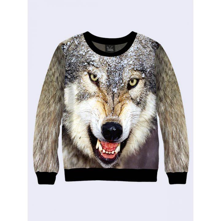 "3D Свитшот для мужчин ""Волк"" серый"