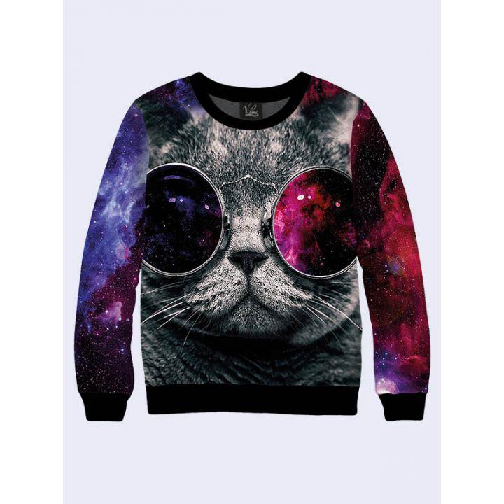 """3D Чоловічий світшот """"Кіт в окулярах"""" лілово-синій"""