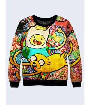 "Мужской свитшот ""Adventure time"" радуга"