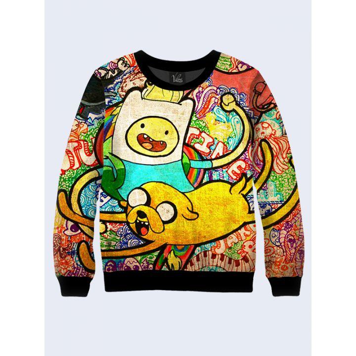 "3D Мужской свитшот ""Adventure time"" радуга"