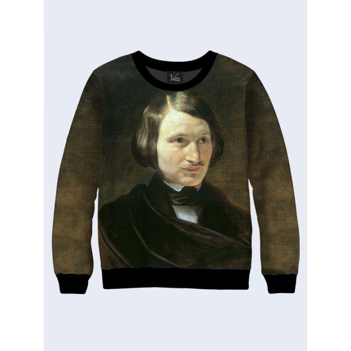 """3D Свитшот для мужчин """"Портрет Гоголя"""" коричневый"""