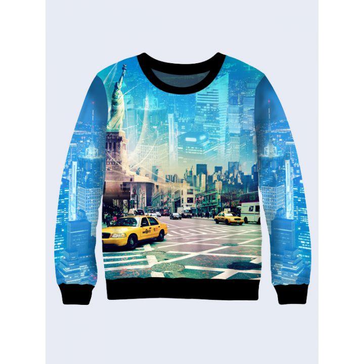 """3D Свитшот для мужчин """"Нью Йорк"""" синий"""