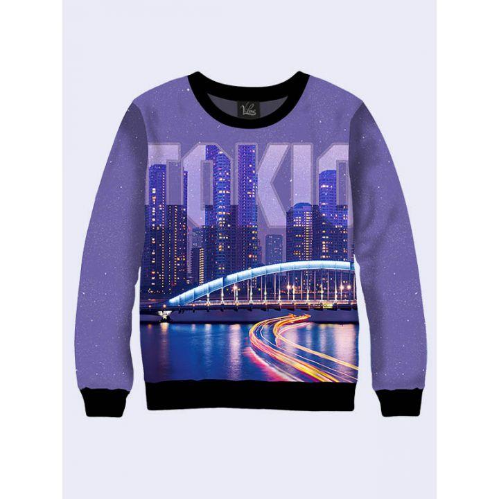 """3D Мужской свитшот """"Удивительный Токио"""" лиловый"""