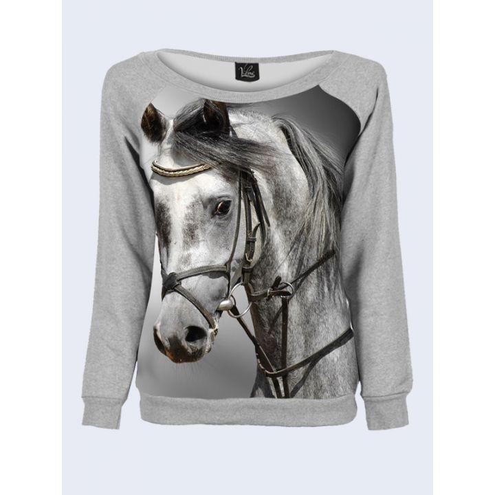 """Свитшот женский с обьемным 3D принтом """"Серая лошадь"""", серый"""