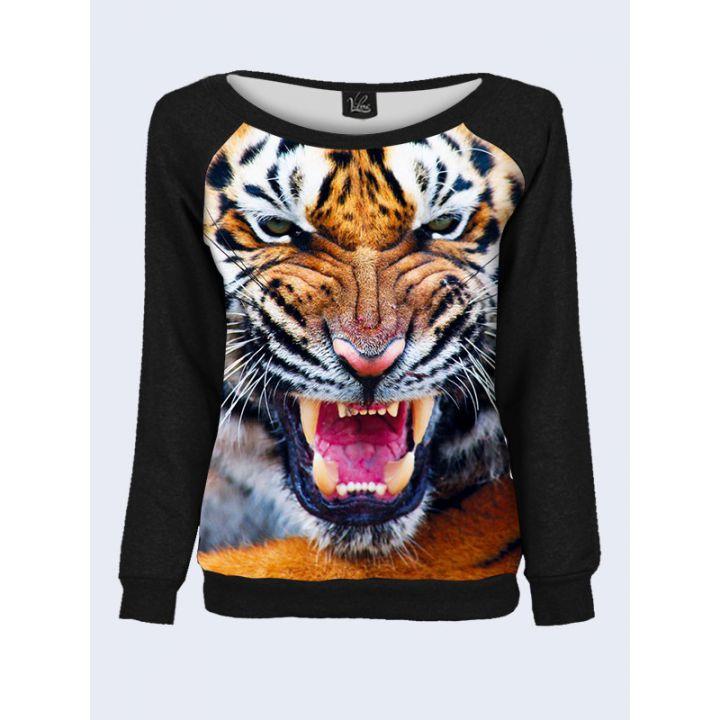 """Свитшот женский с обьемным 3D принтом """"Хищный тигр"""", черный"""