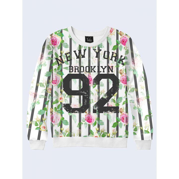 """Женский свитшот """"New York 92"""" белый"""