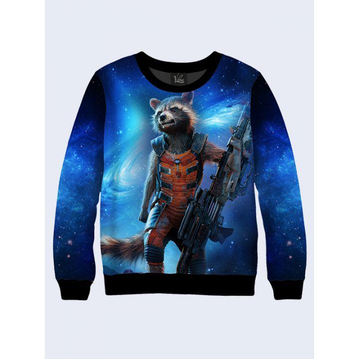 "Женский свитшот ""Rocket Raccoon"" синий"