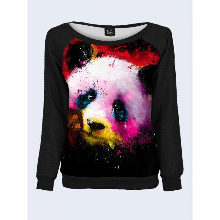 """Свитшот женский с обьемным 3D принтом """"Панда в красках"""", черный"""