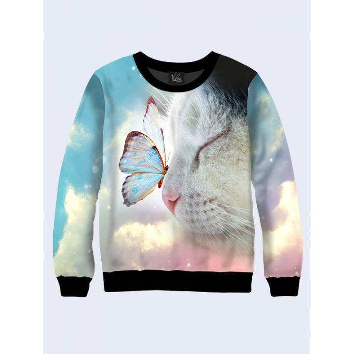 """Свитшот женский """"Котенок с бабочкой"""" небесный"""