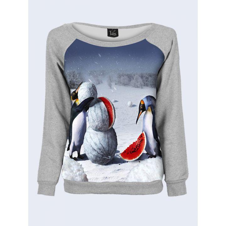 """Свитшот женский с обьемным 3D принтом """"Улетные пингвины"""", серый"""