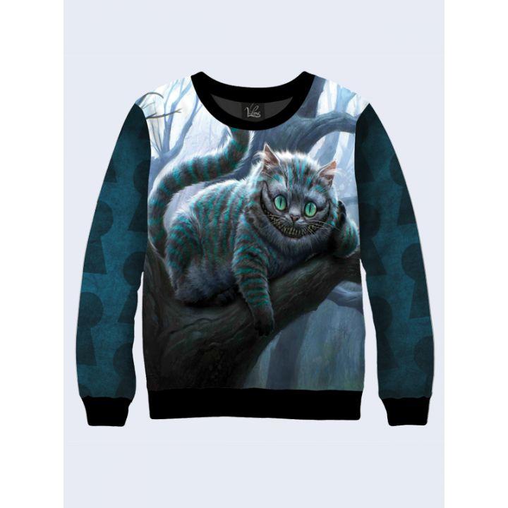 """Жіночий світшот """"Чеширський кіт"""" зелений"""