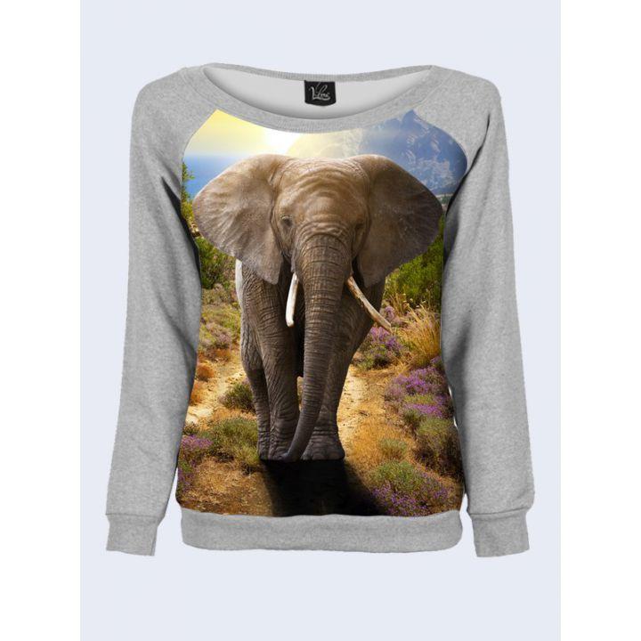 """Свитшот женский с обьемным 3D принтом """"Слон"""", серый"""