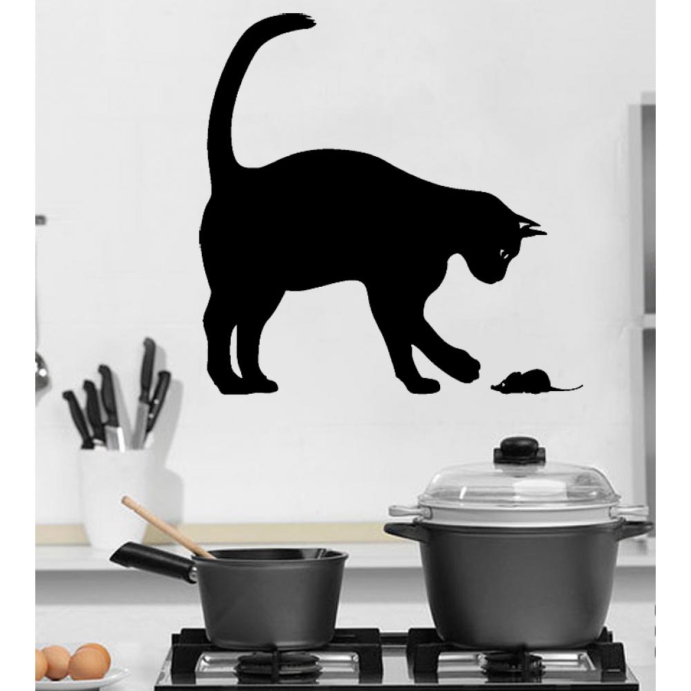 Виниловая наклейка на стену Кошка и Мышка - Купить ...