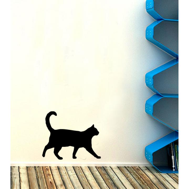 Виниловая наклейка на стену Стикер Гуляющая Кошка