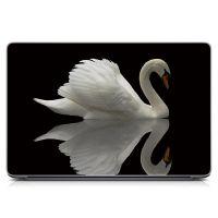 """Универсальная наклейка на ноутбук 15.6""""-13.3"""" Лебедь Матовый 380х250 мм"""