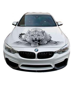 120х150 см, 3D Наклейка на капот Леопард G