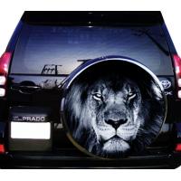 75х75 см, 3D Наклейка на запаску Лев черно белый