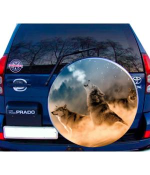 75х75 см, 3D Наклейка на запасне колесо Вовки Місяць С