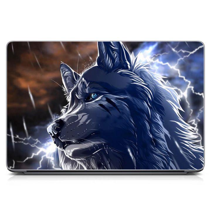 Виниловый стикер на ноутбук Волк, фентези Матовый