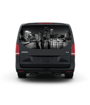 148х70 см, 3D Наклейка на заднє скло авто Нічне місто