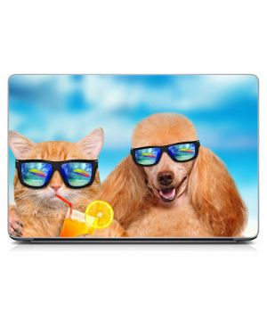 Виниловый стикер для ноутбука Кот и пес в очках Матовый