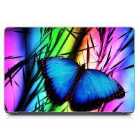 Виниловый стикер на ноутбук Синяя бабочка Матовый