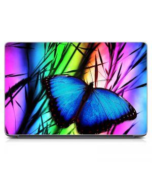 """Универсальная наклейка на ноутбук 15.6""""-13.3"""" Синяя бабочка Матовый 380х250 мм"""