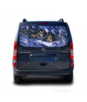 148х70 см, 3D Наклейка на заднє скло Winter Wolves