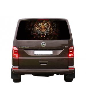 148х70 см, 3D Наклейка на заднє скло авто Тигр вогняний