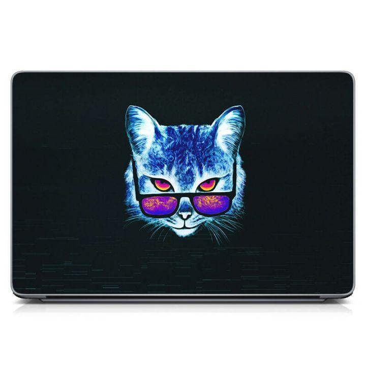 Виниловый стикер на ноутбук Кот в очках Матовый