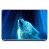Виниловый стикер на ноутбук Белый волк Матовый